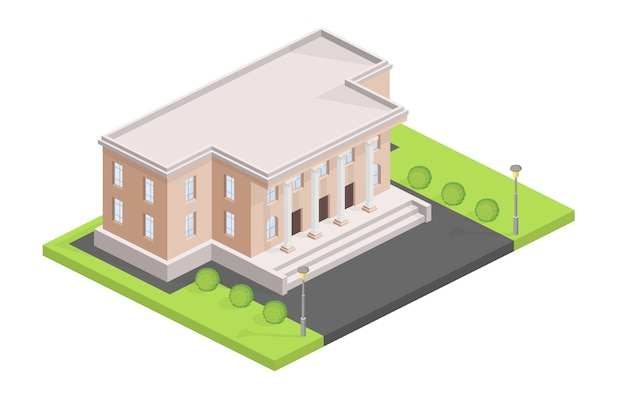 Museum building isometric illustration