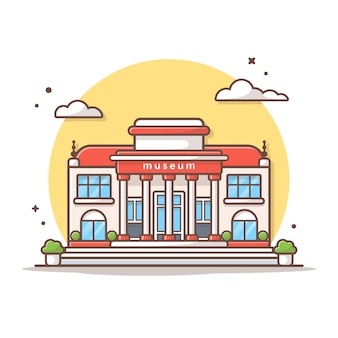 Museum building vector icon illustration. building and landmark icon concept white isolated