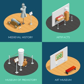 Museum compositions presenting different exhibitions prehistory medieval history artifacts