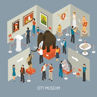 Museum exhibition isometric composition poster