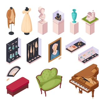 Museum exhibition isometric icons set