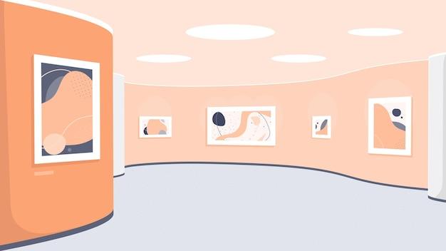 현대 미술품이 전시 된 박물관 전시. 현대 그림이있는 아트 갤러리 인테리어.