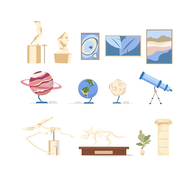 Museum exhibits flat color objects set. dinosaur skeleton showcase. picture for art gallery. antique sculpture. exposition masterpieces 2d isolated cartoon illustrations on white background
