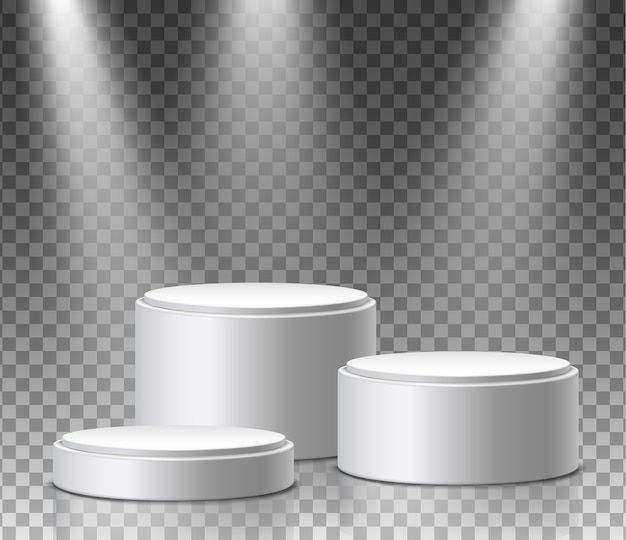 Museum exposition, blank product round stands
