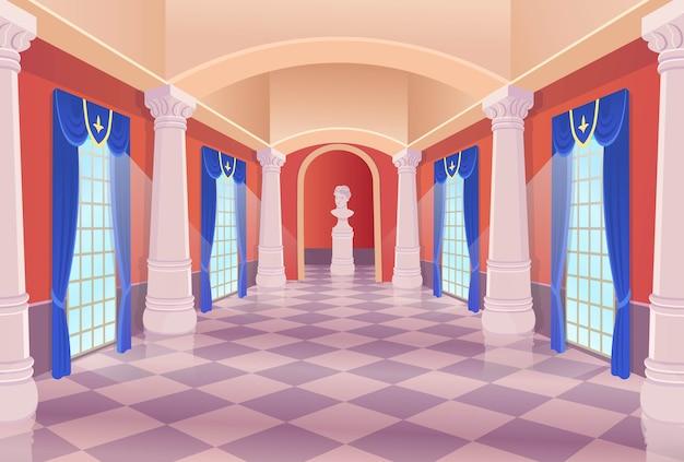 Музейный зал картинной галереи мультяшный интерьер.