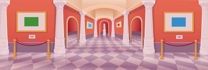 музейный зал художественной галереи вектор мультяшный интерьер.