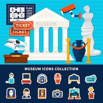 제목과 열이있는 골동품 노출 관리인 티켓 작품 박물관 건물의 박물관 아이콘 모음