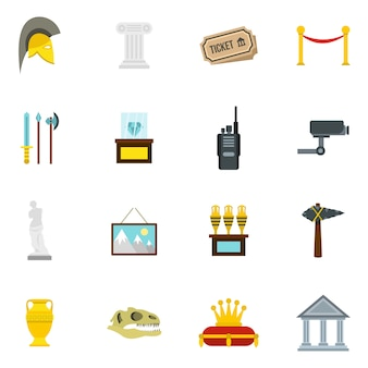 Museum icons set in flat style