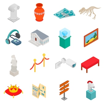 Museum icons set in isometric 3d style on white background