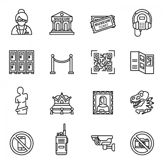Museum icons set. museum exhibits collection.