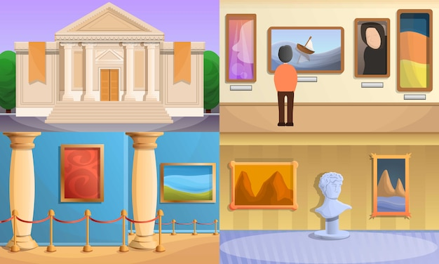 Museum illustration set, cartoon style