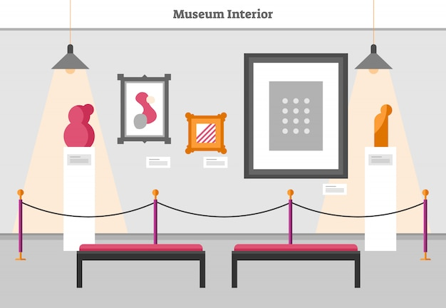 Museum interior flat vector illustration