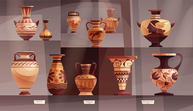 골동품 그리스 꽃병 고대 전통 점토 항아리 또는 와인을 위한 냄비가 있는 박물관 내부