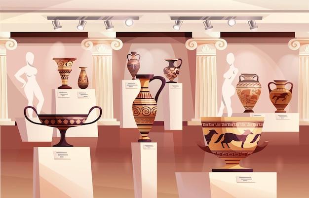 古代ギリシャの壺、古代の伝統的な粘土の壺や鍋の彫刻がある博物館のインテリア