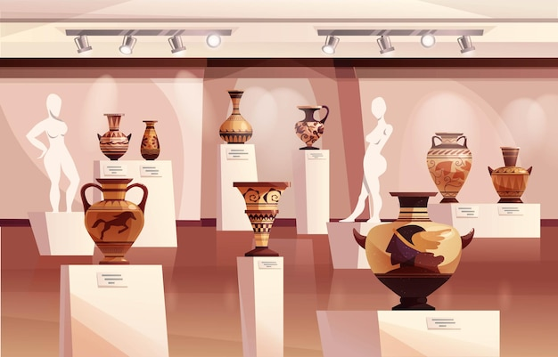 Museum interior with antique greek vases ancient traditional clay jar or pots for wines sculptures