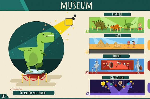 Museum interior with exhibits of prehistoric dinosaurs, knight armor and steel arms, ancient egypt and pyramids, and exposition of the solar system.  cartoon flat infographics.