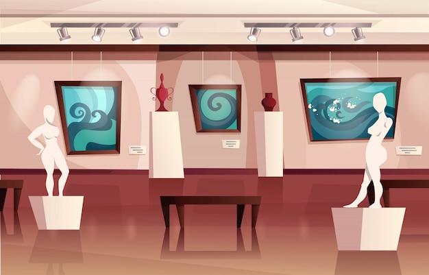 壁、彫刻、花瓶にモダンなアートワークが飾られた美術館のインテリア。展覧会のあるアートギャラリー。漫画イラスト。