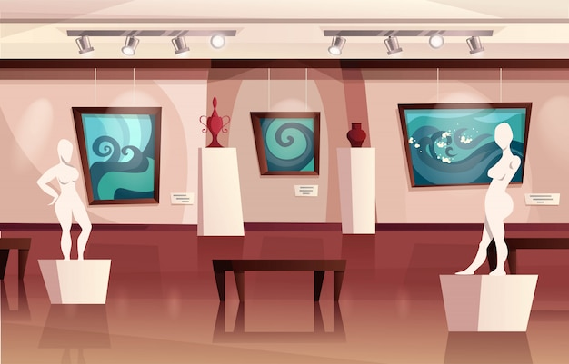 Museum  interior with modern artworks on walls, sculptures, vases. art gallery with exhibition. cartoon   illustration.