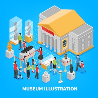Museum isometric composition