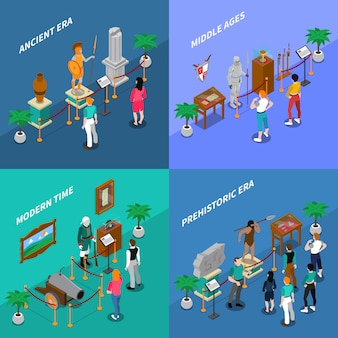 Museum isometric illustration set