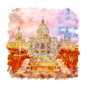 Museum national d'art decatalunyaスペイン水彩スケッチ手描きイラスト