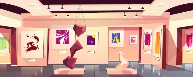 В музее или художественной галерее интерьер выставки карикатуры с современностью