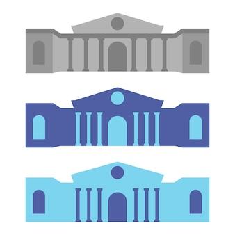 박물관 또는 은행 건물 아이콘입니다. 도시 건축, 공공 정부 건물. 미술관 기호입니다. 파란색 아이콘 그림입니다. 벡터 일러스트 레이 션 흰색 배경에 고립