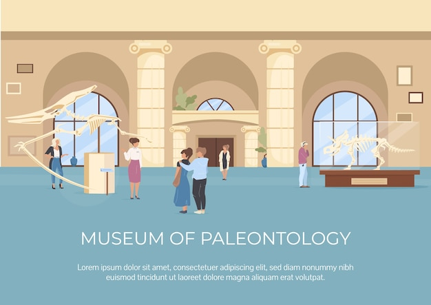 Museum of paleontology poster flat template. fossils exposure. gallery guide. brochure, booklet one page concept design with cartoon characters. archaeology exhibition flyer, leaflet