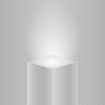 박물관 무대. 현실적인 큐브 연단, 3d 전시 디스플레이. 스포트라이트가 받침대를 비 춥니 다.