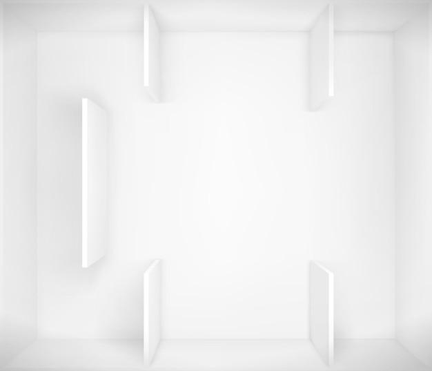 博物館の白い空のインテリア