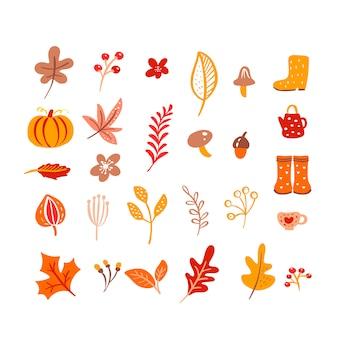 Mushroom, acorn, maple leaves and pumpkin isolated on white