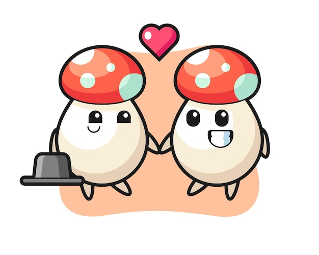 Mushroom cartoon character couple with fall in love gesture, cute style design for t shirt, sticker, logo element