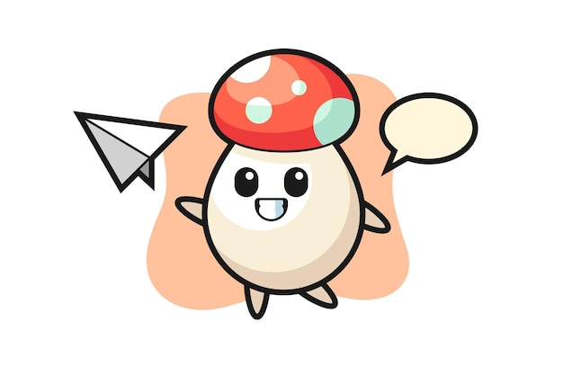 Mushroom cartoon character throwing paper airplane, cute style design for t shirt, sticker, logo element