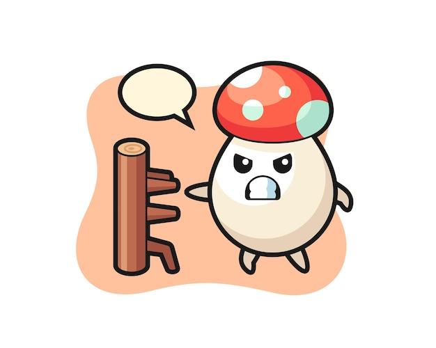 가라데 파이터로서의 버섯 만화 삽화, 티셔츠, 스티커, 로고 요소를 위한 귀여운 스타일 디자인