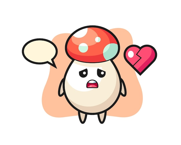 Mushroom cartoon illustration is broken heart, cute style design for t shirt, sticker, logo element