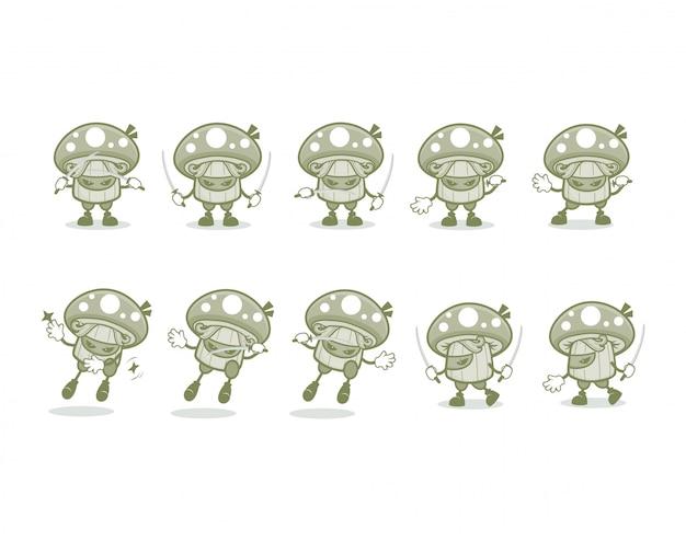 Мультфильм ниндзя с десятью различными движениями