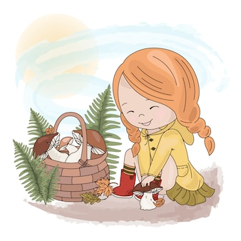 Mushroom catcher cartoon girl forest