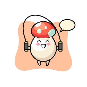 밧줄을 건너뛰는 버섯 캐릭터 만화, 티셔츠, 스티커, 로고 요소를 위한 귀여운 스타일 디자인