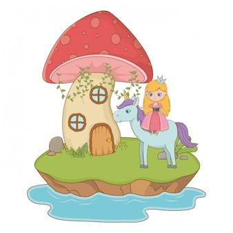 Mushroom and character of fairytale design vector illustration