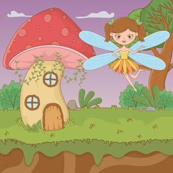 Mushroom and character of fairytale