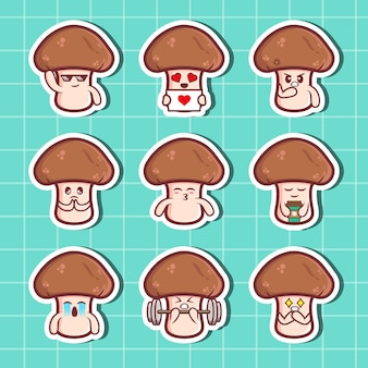 Mushroom character stickers set. collection of flat illustrations premium vector