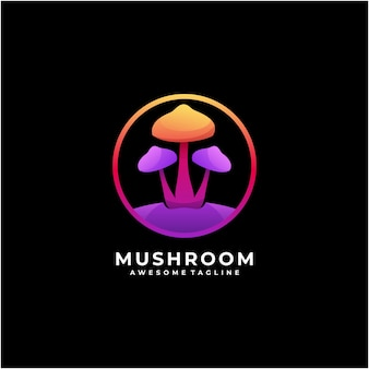 Mushroom colorful abstract logo design modern Premium Vector
