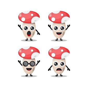 버섯 귀여운 캐릭터 로고
