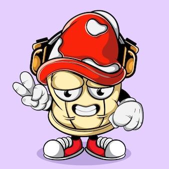 Mushroom doodle character illustration