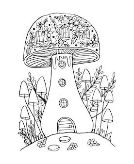 Грибные рисунки для книжки-раскраски изолированные