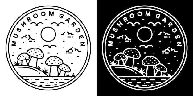 버섯 정원 모노 라인 야외 로고 디자인