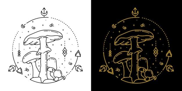 버섯 기하학 문신 monoline 디자인