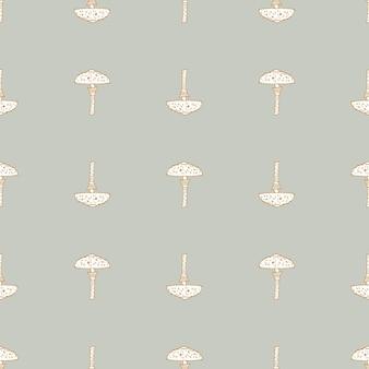 Mushroom hand drawn seamless pattern.