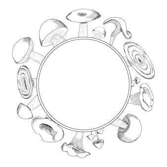 Mushroom hand drawn sketch vector wreath. mushroom shiitake, fresh organic food