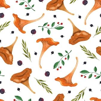 흰색 바탕에 버섯 허브 수채화 원활한 패턴